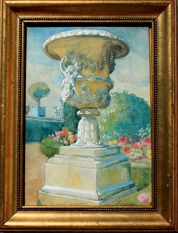 """Gerda Wegener Akvarel fra 1930 """"Motiv fra Rom"""" 26x19 cm"""