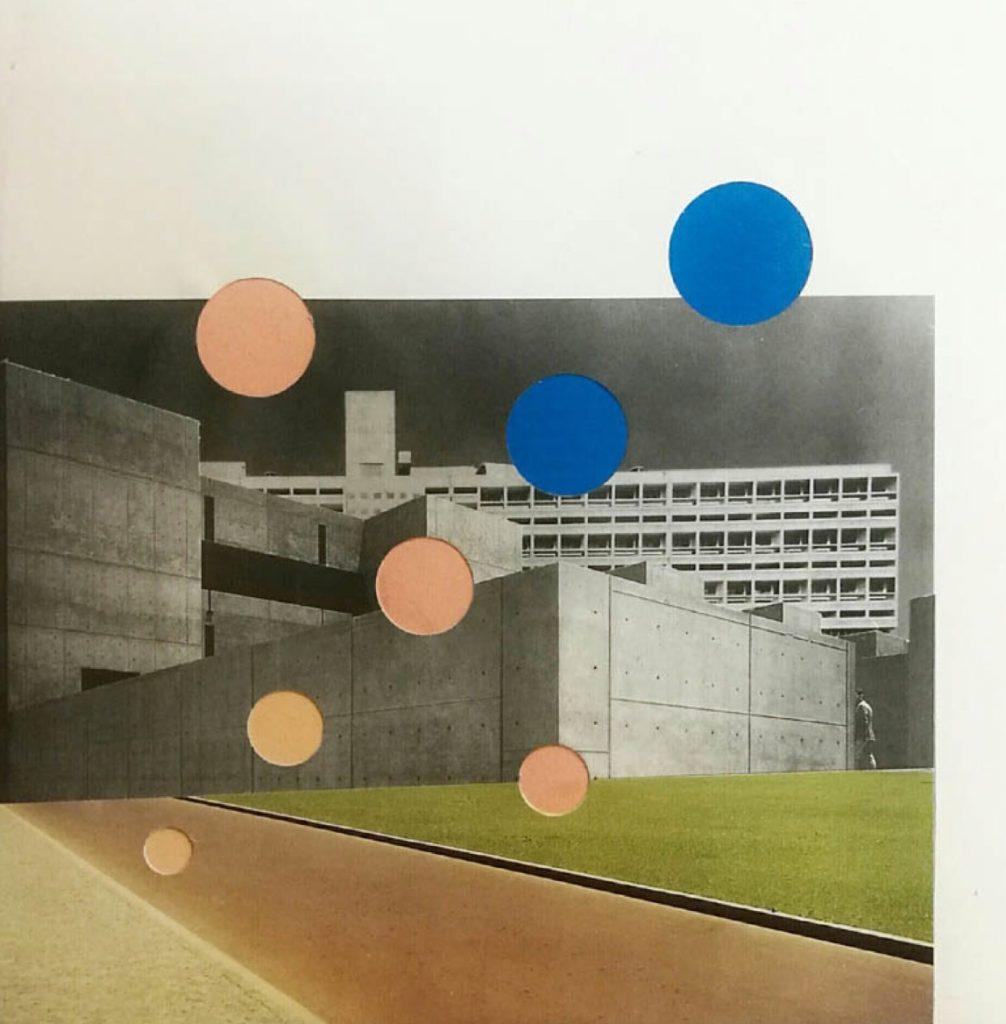 Signe Jaïs Bygning møder græs, vej møder bygning. Collage 42,5 x 32,5 cm