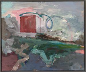 """Jan Balling """"Excentriske cirkler"""" Akryl på lærred 60x50 cm."""