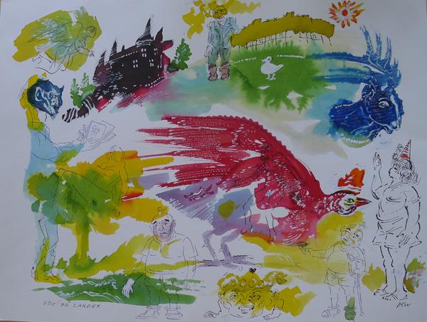 """Kurt Westergaard """"Ude på landet"""" Akvarel 31 x 41 cm (47 x 56 cm)"""