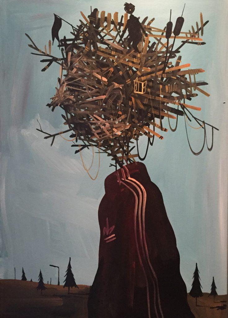 "Simon Fensholm ""Idea"" 70x50 cm. Acryl på lærred"