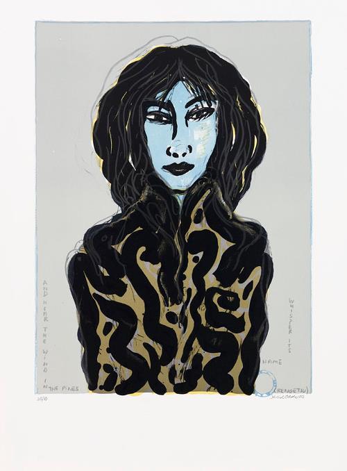 "Knud Odde ""Lady Sakara"" Litografi 76 x 56 cm"