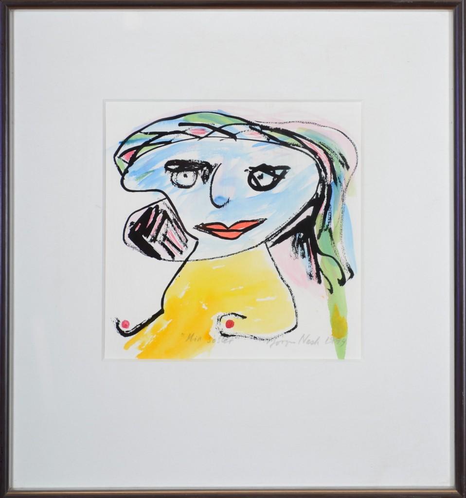 """Jørgen Nash """"Min søster"""". Akvarel på papir 22 x 22 cm"""