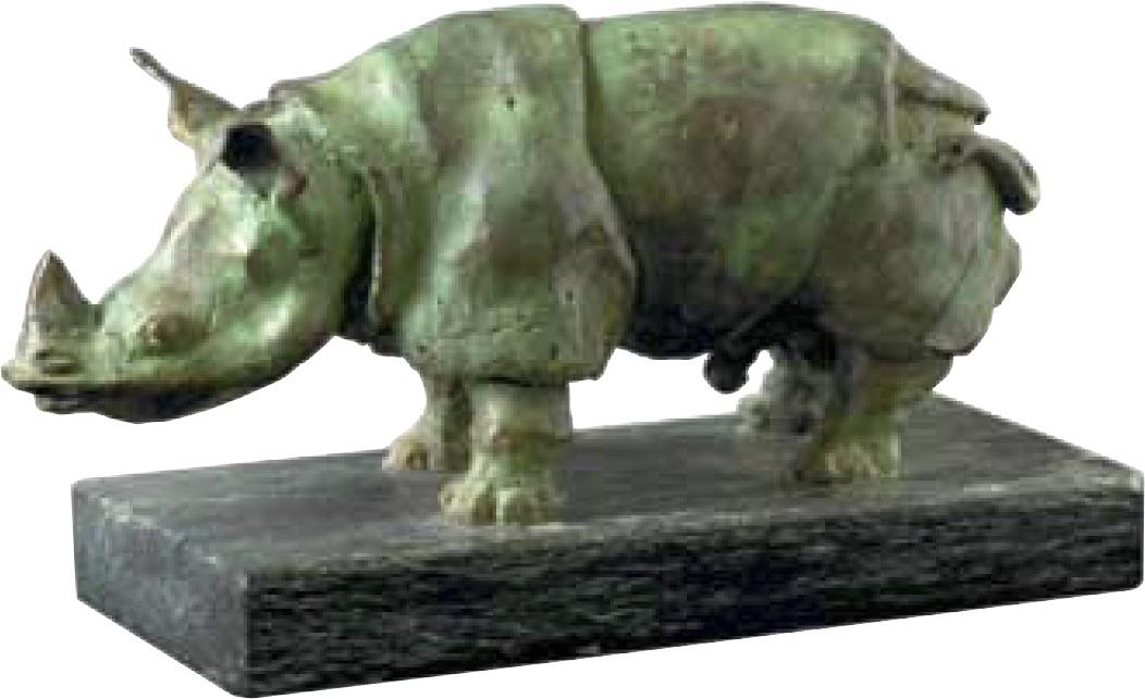 "H.K.H. Prinsegemalen Bronzeskulptur ""Næsehornet"" 18x8,5x5 cm"